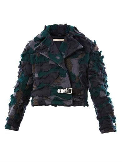 Christopher Kane Wool camo biker jacket