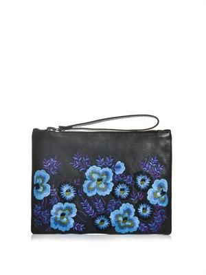 Floral embroidered leather clutch