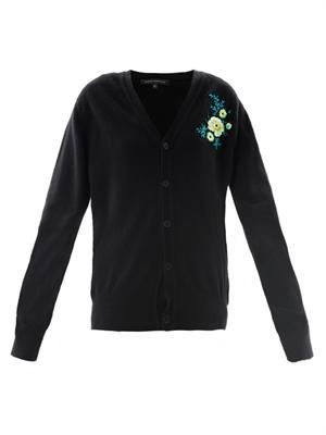 Floral embroidered cashmere cardigan