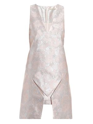 Splice hem metallic dress