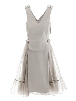 Crepe and organza bolt dress