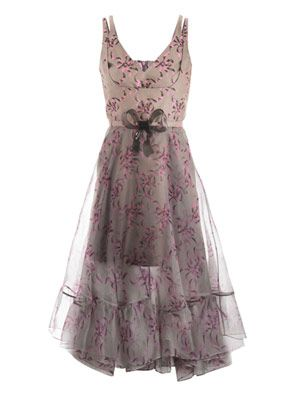 Bow-print chiffon-overlay dress