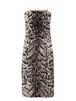 Jaguar-print goat hair and leather dress