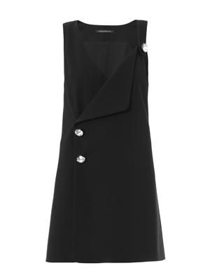 Crystal-button wool-crepe dress