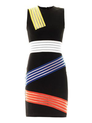 Colour-block multi stripe dress