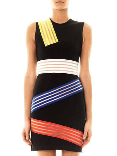 Christopher Kane Colour-block multi stripe dress