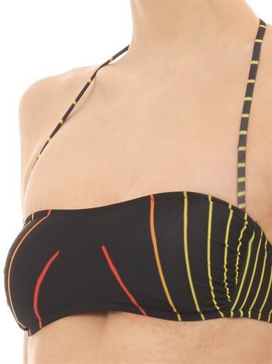 Christopher Kane Grid Face-print bandeau bikini