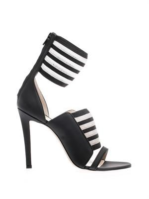 Striped ankle-cuff sandals