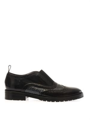 Leather and snakeskin slip-on loafers