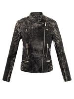 Cracked leather biker jacket
