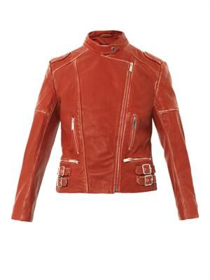 Vintage-look leather biker jacket