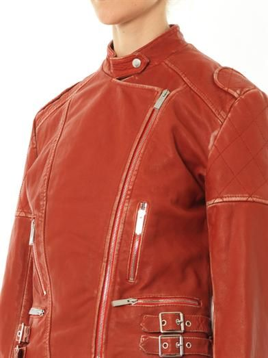 Christopher Kane Vintage-look leather biker jacket