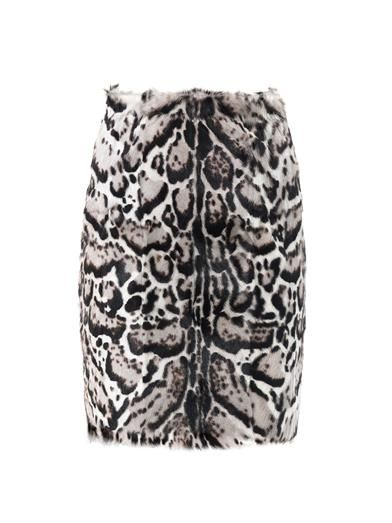 Christopher Kane Jaguar-print goat hair and leather pencil skirt