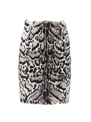 Jaguar-print goat hair and leather pencil skirt