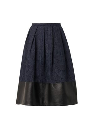 Leather and snake-print denim skirt