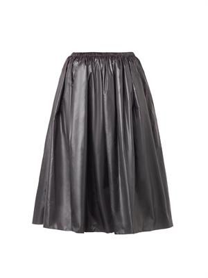 Ruched-nylon midi skirt