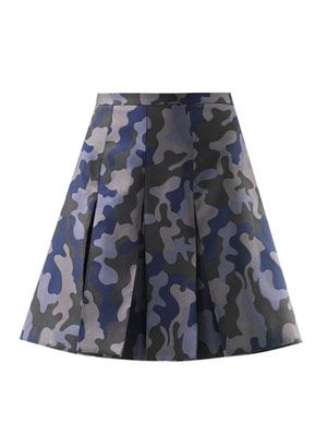 Box pleat camo-print silk jacquard skirt