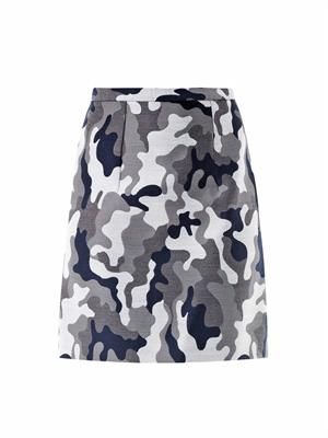 Camo-print wool mini skirt