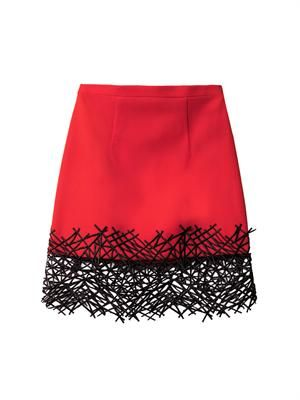 Crackle-hem crepe mini skirt