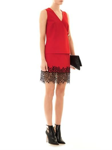 Christopher Kane Crackle-hem crepe mini skirt