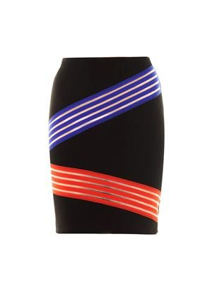 Cut-out colour block stripe skirt