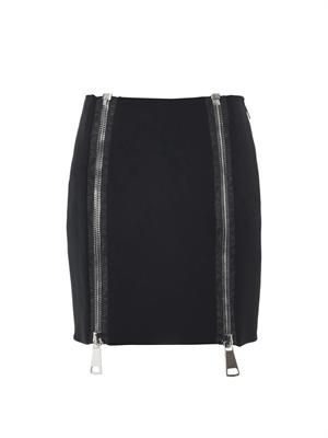 Double-zip stretch-cady skirt