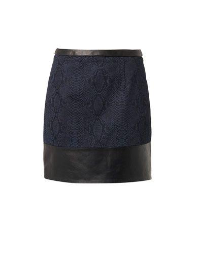 Christopher Kane Leather and snake-print denim skirt