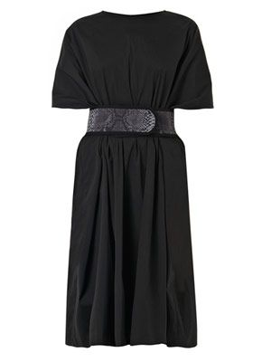 Belted cotton-blend dress