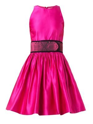 Belted duchess-satin dress