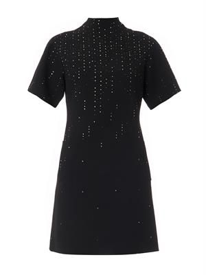 Crystal-embellished wool-crepe dress