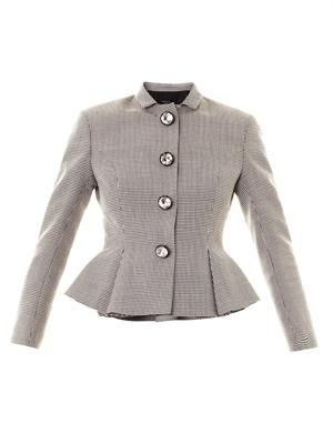 Crystal button puppytooth peplum jacket