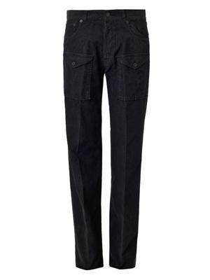 Straight-leg micro-corduroy trousers