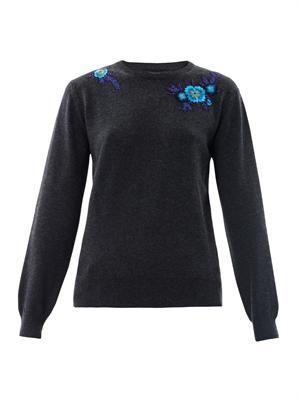 Floral embroidered cashmere sweater