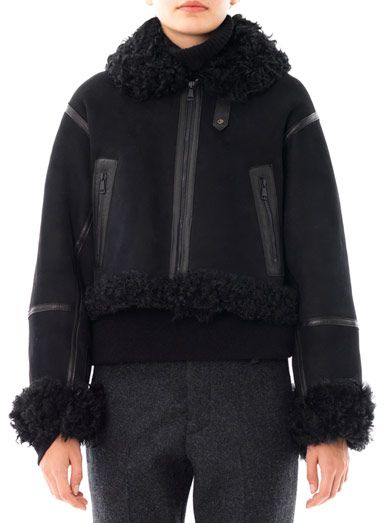 Christopher Kane Cropped shearling bomber jacket