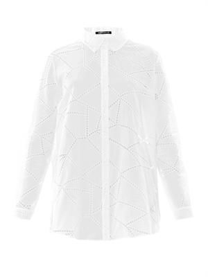 Broderie anglaise button down shirt