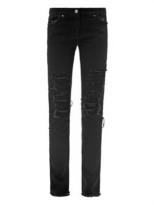 Shredded high-rise skinny jeans