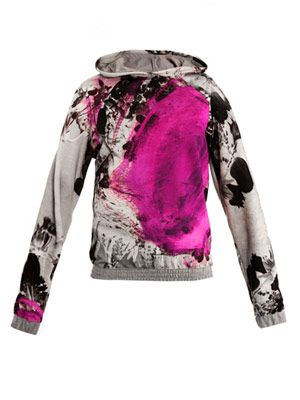 Floral paint-spot hooded sweat top