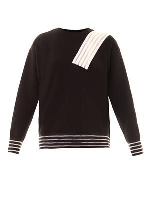 Cut-out stripe sweatshirt