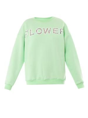 Flower lace-insert sweatshirt