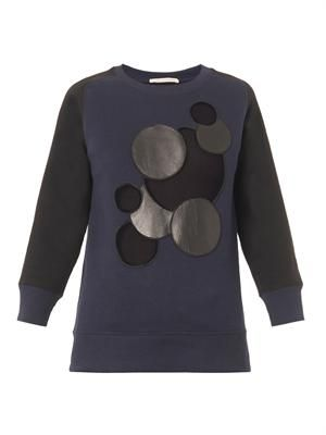 Leather-molecule bi-colour sweatshirt
