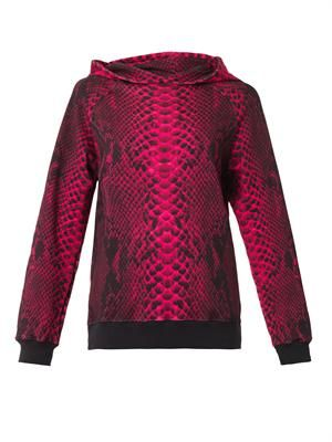 Snake-print hooded sweatshirt