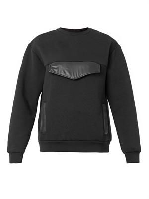 Oversized-pocket neoprene sweatshirt