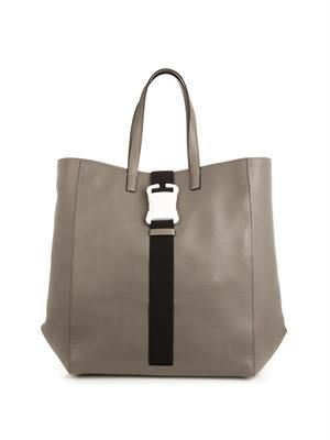 Safety buckle leather tote