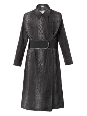Snake-print lightweight trench coat