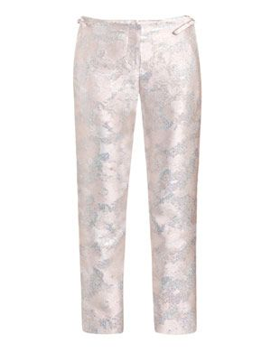Metallic brocade trousers