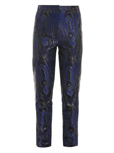 Christopher Kane Moiré leather-stripe trousers
