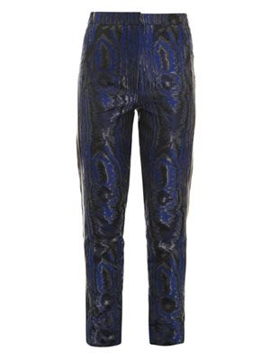 Moiré leather-stripe trousers