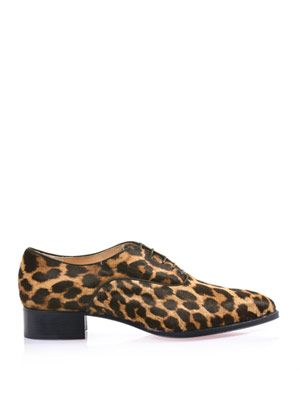 Zazou leopard calf-hair lace-up shoes