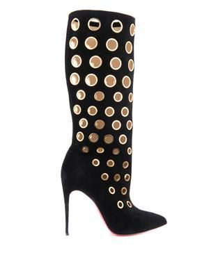 Apollo 100mm eyelet-embellished suede boots
