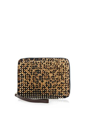 Chris leopard pony-skin clutch